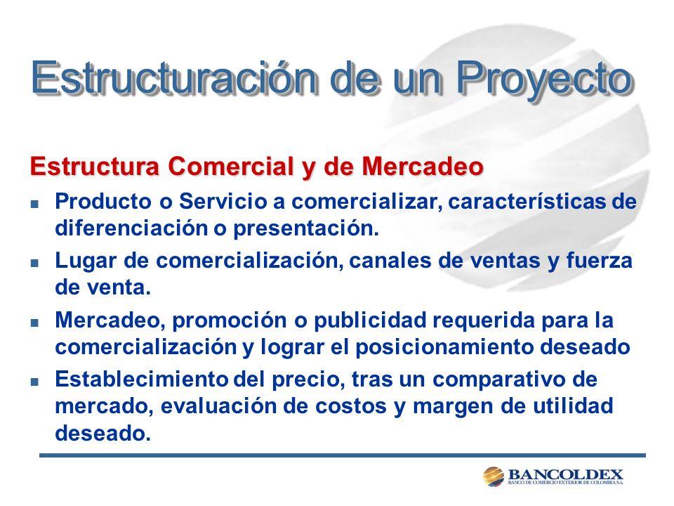 Estructuración de un Proyecto Estructura Comercial y de Mercadeo n Producto o Servicio a comercializar, características de diferenciación o presentaci