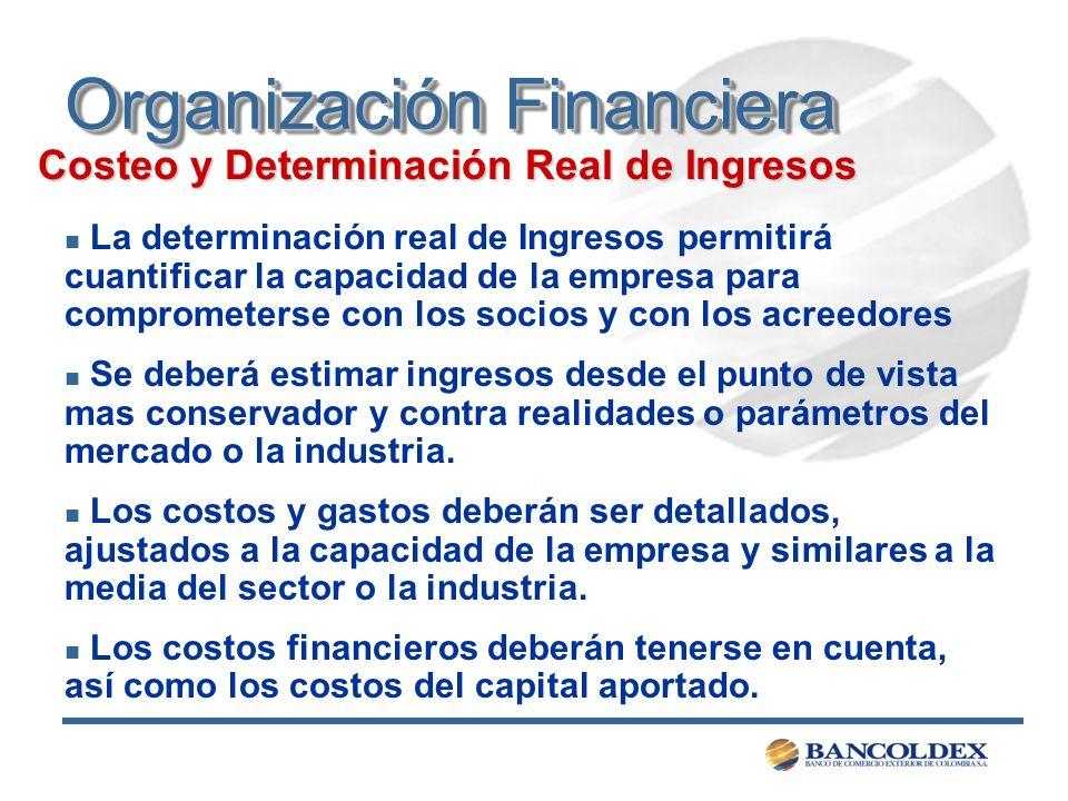 Organización Financiera Costeo y Determinación Real de Ingresos n La determinación real de Ingresos permitirá cuantificar la capacidad de la empresa p