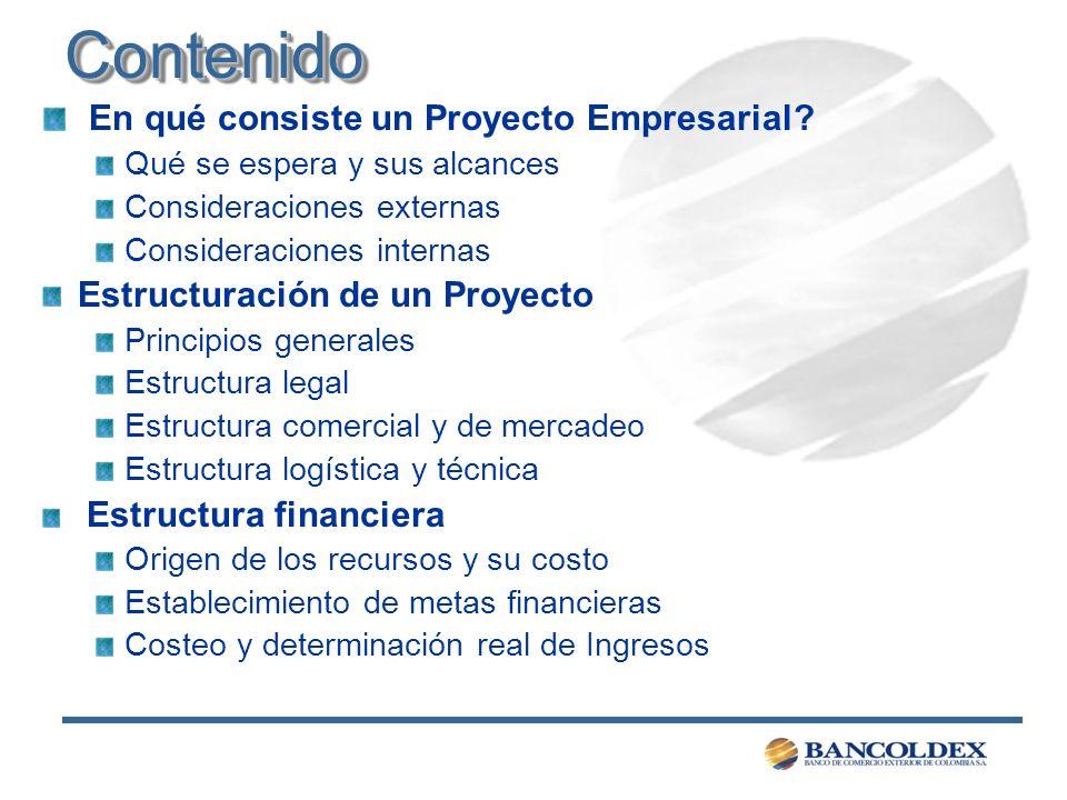 ContenidoContenido En qué consiste un Proyecto Empresarial? Qué se espera y sus alcances Consideraciones externas Consideraciones internas Estructurac