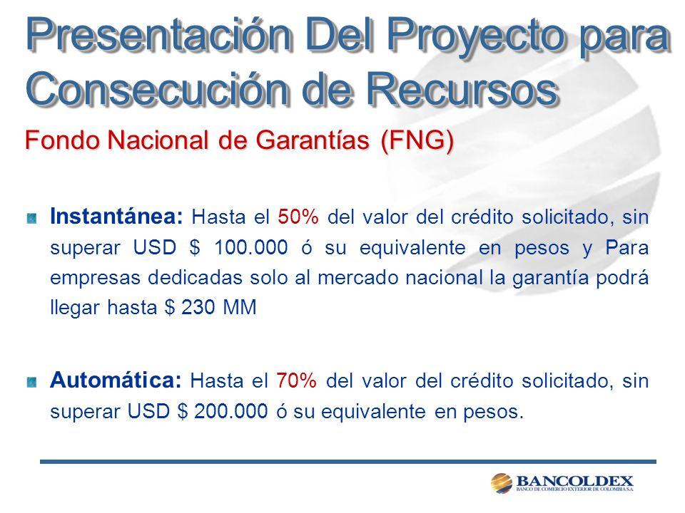 Fondo Nacional de Garantías (FNG) Instantánea: Hasta el 50% del valor del crédito solicitado, sin superar USD $ 100.000 ó su equivalente en pesos y Pa