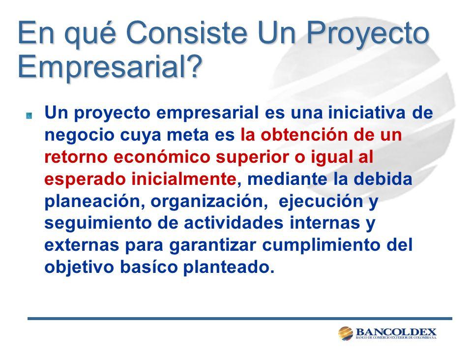En qué Consiste Un Proyecto Empresarial? Un proyecto empresarial es una iniciativa de negocio cuya meta es la obtención de un retorno económico superi