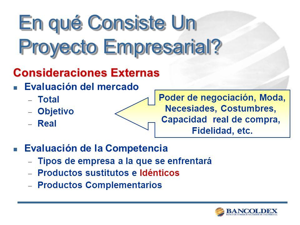 En qué Consiste Un Proyecto Empresarial? Consideraciones Externas n Evaluación del mercado – Total – Objetivo – Real n Evaluación de la Competencia –
