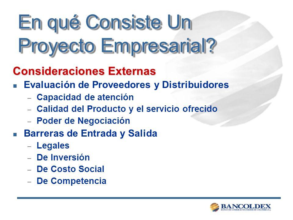 En qué Consiste Un Proyecto Empresarial? Consideraciones Externas n Evaluación de Proveedores y Distribuidores – Capacidad de atención – Calidad del P