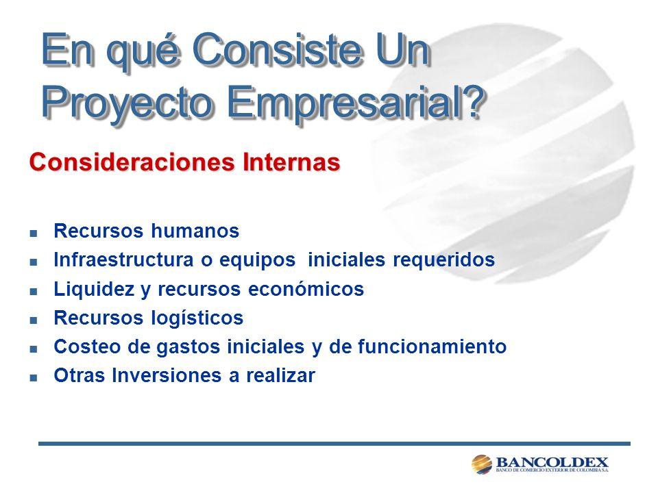 En qué Consiste Un Proyecto Empresarial? Consideraciones Internas n Recursos humanos n Infraestructura o equipos iniciales requeridos n Liquidez y rec
