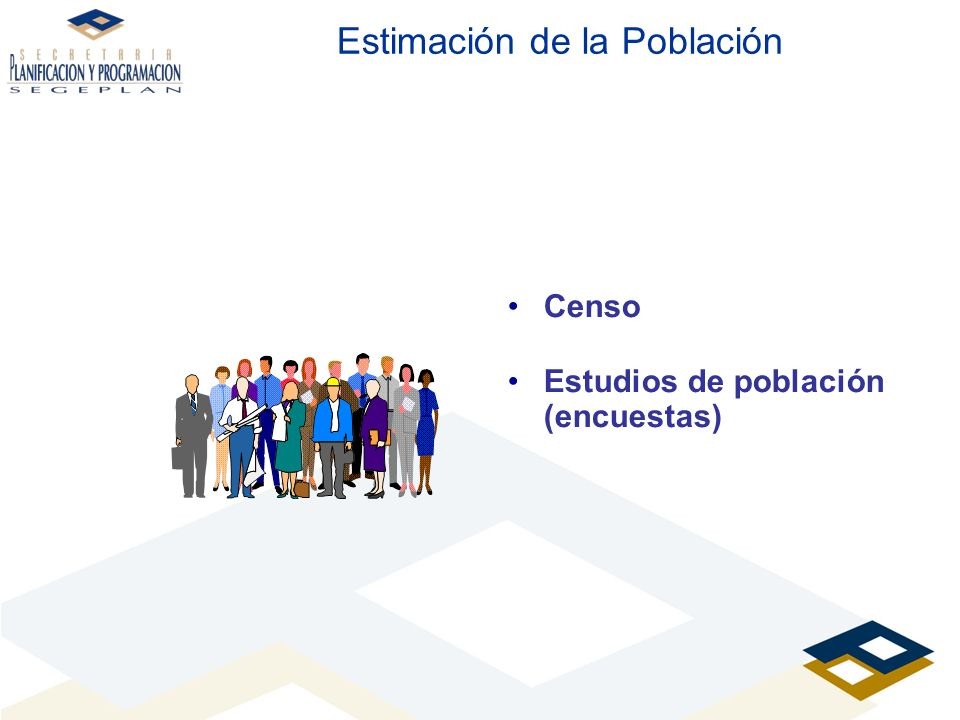 Estimación de la Población Censo Estudios de población (encuestas)