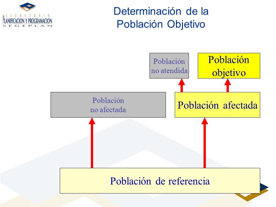 Determinación de la Población Objetivo Población de referencia Población afectada Población objetivo Población no afectada Población no atendida