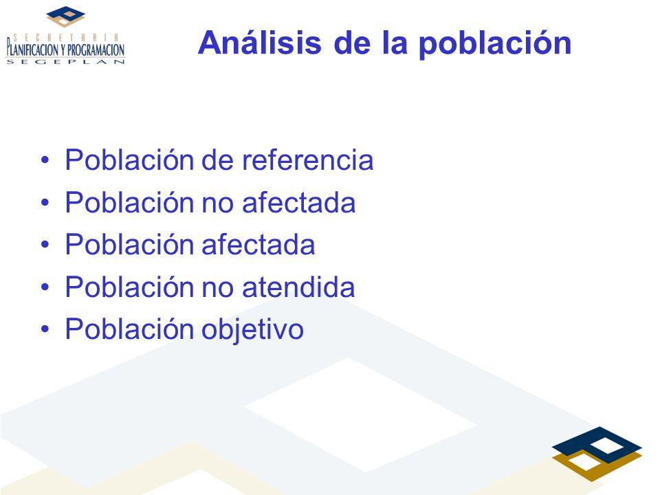 Análisis de la población Población de referencia Población no afectada Población afectada Población no atendida Población objetivo