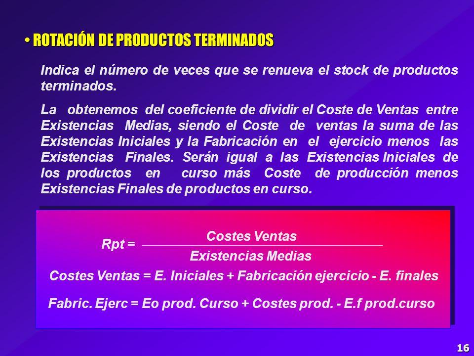 15 ROTACIÓN DE PRODUCTOS EN CURSO ROTACIÓN DE PRODUCTOS EN CURSO Indica el número de veces que se renueva el stock de los productos en curso. La obten