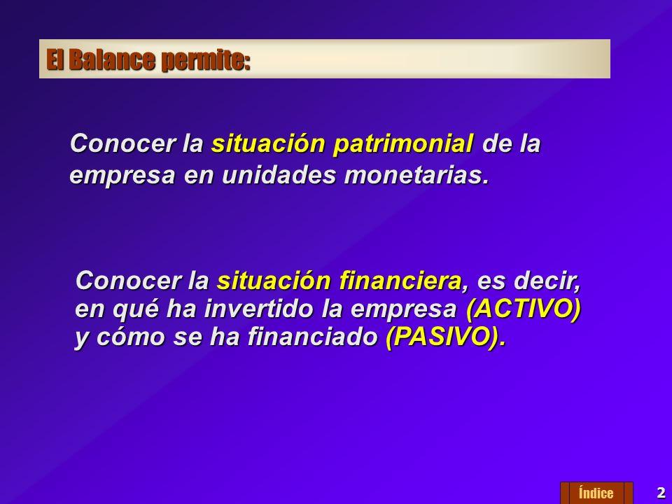 2 El Balance permite: Conocer la situación patrimonial de la empresa en unidades monetarias.
