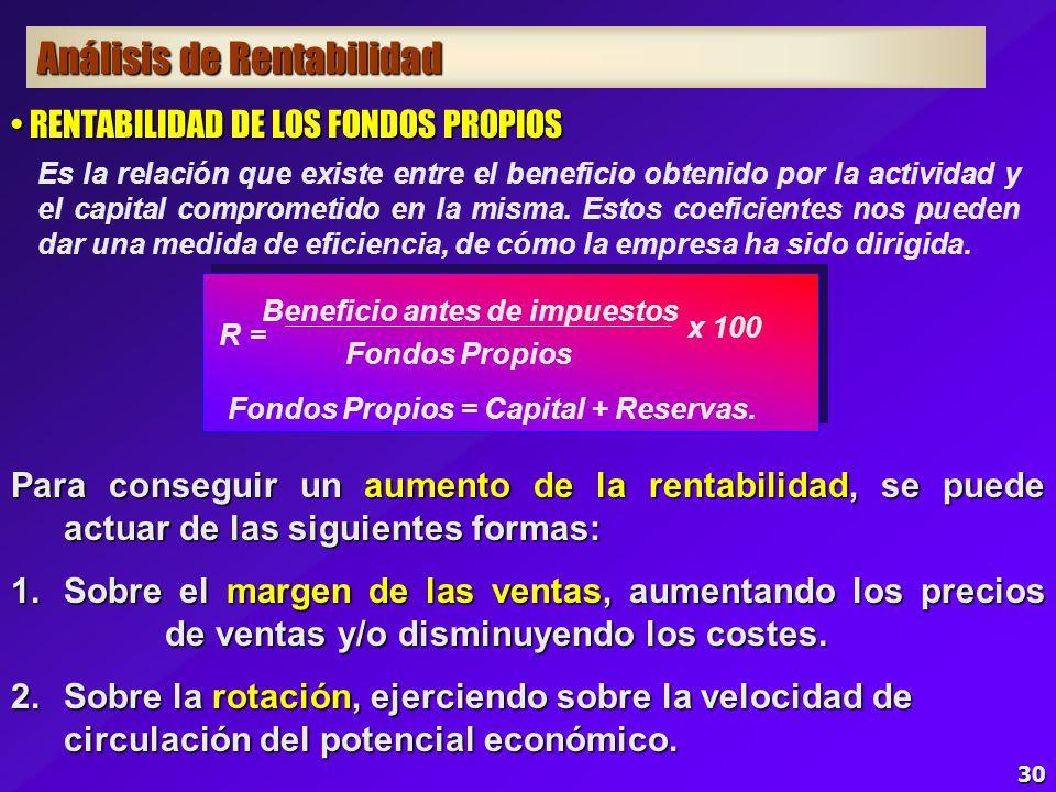 29 SEGURIDAD DE LOS COSTES PROPORCIONALES SEGURIDAD DE LOS COSTES PROPORCIONALES S.c.p. = Costes proporcionales Beneficios después de impuestos 100 x