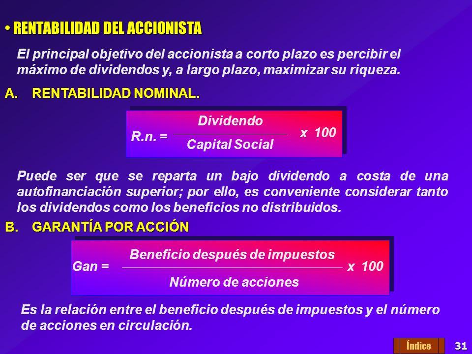30 Análisis de Rentabilidad RENTABILIDAD DE LOS FONDOS PROPIOS RENTABILIDAD DE LOS FONDOS PROPIOS Es la relación que existe entre el beneficio obtenid