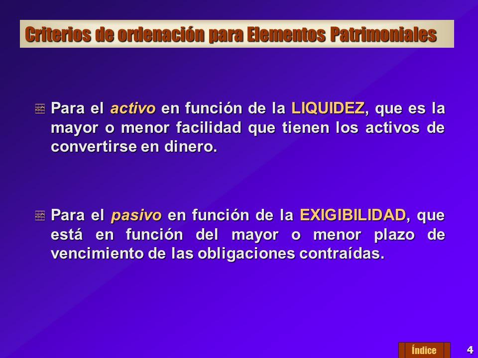 4 Criterios de ordenación para Elementos Patrimoniales Para el activo en función de la LIQUIDEZ, que es la mayor o menor facilidad que tienen los activos de convertirse en dinero.