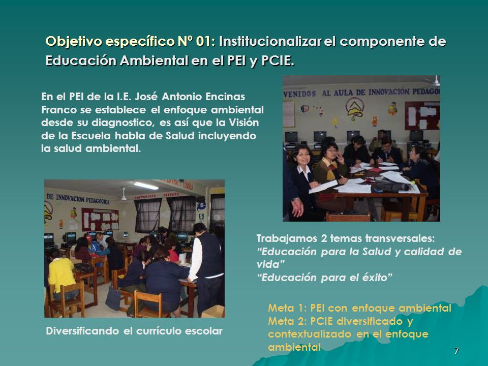 8 Objetivo específico Nº 02: Fortalecer y consolidar la gestión institucional en tema ambiental.