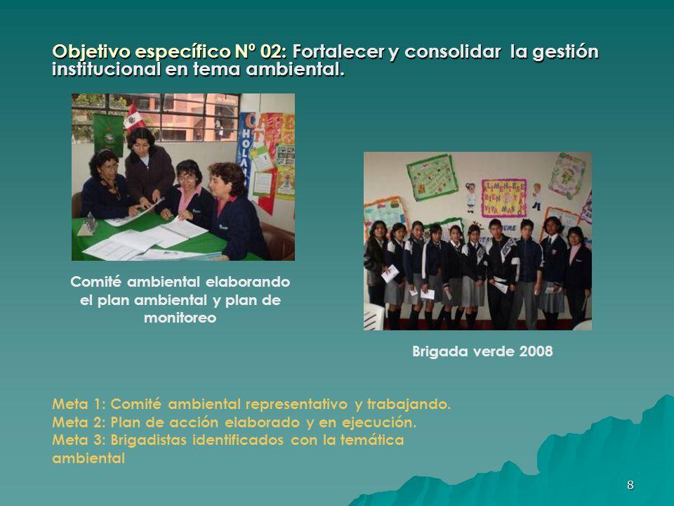 9 Objetivo específico Nº 02: Fortalecer y consolidar la gestión institucional en tema ambiental.