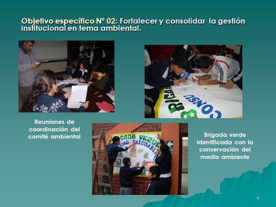 10 Objetivo específico Nº 03: Sensibilizar a la comunidad educativa y local en temas de conservación y preservación del medio ambiente utilizando medios audiovisuales, mesa redonda, conversatorios.