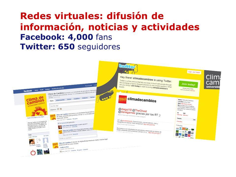 Redes virtuales: difusión de información, noticias y actividades Facebook: 4,000 fans Twitter: 650 seguidores