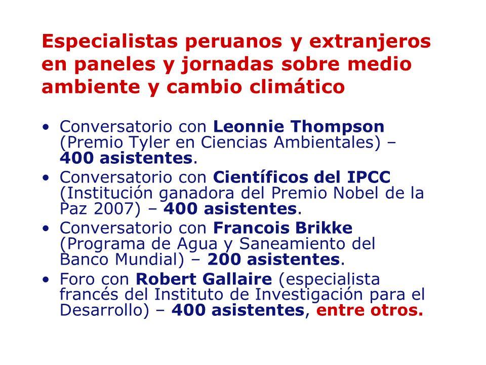 Especialistas peruanos y extranjeros en paneles y jornadas sobre medio ambiente y cambio climático Conversatorio con Leonnie Thompson (Premio Tyler en