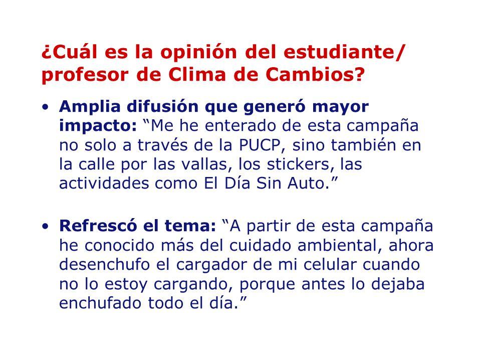 ¿Cuál es la opinión del estudiante/ profesor de Clima de Cambios? Amplia difusión que generó mayor impacto: Me he enterado de esta campaña no solo a t