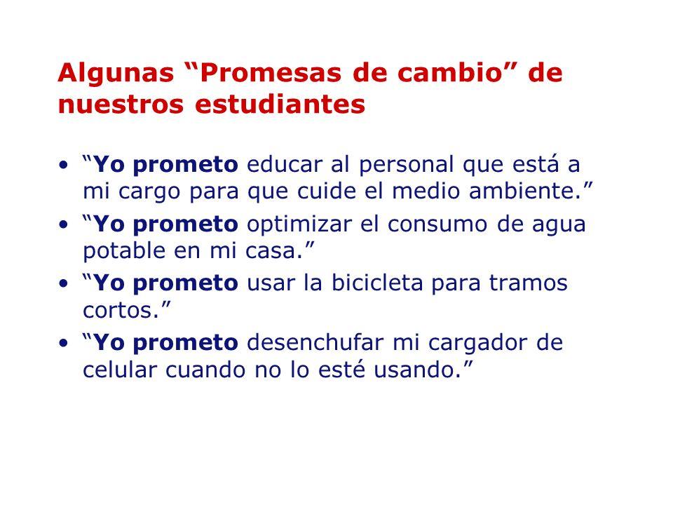 Algunas Promesas de cambio de nuestros estudiantes Yo prometo educar al personal que está a mi cargo para que cuide el medio ambiente. Yo prometo opti