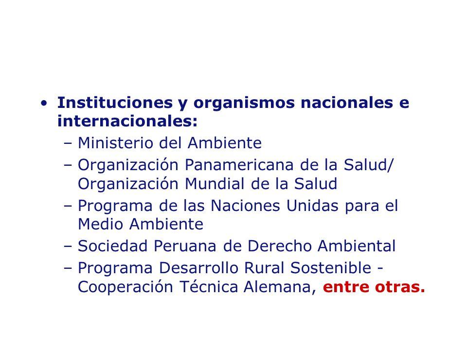 Instituciones y organismos nacionales e internacionales: –Ministerio del Ambiente –Organización Panamericana de la Salud/ Organización Mundial de la S