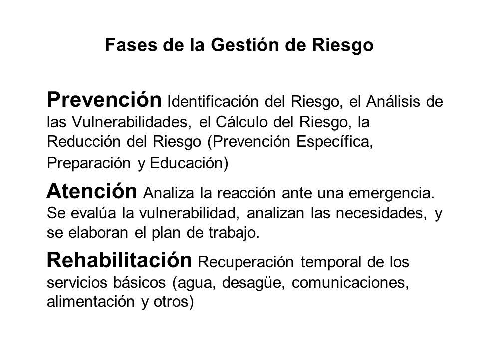 Fases de la Gestión de Riesgo Prevención Identificación del Riesgo, el Análisis de las Vulnerabilidades, el Cálculo del Riesgo, la Reducción del Riesg