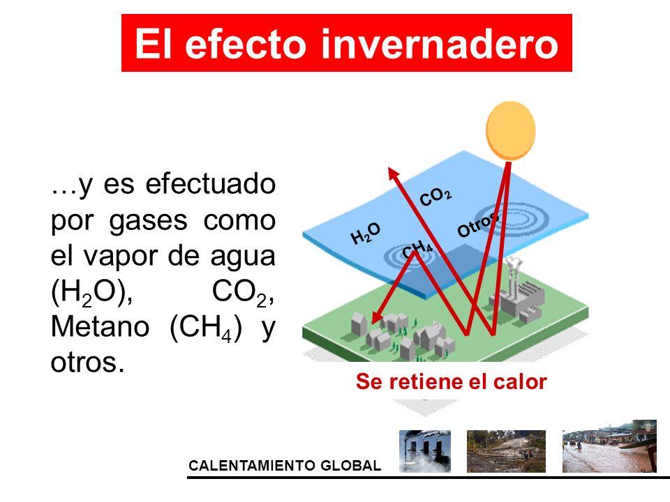 CALENTAMIENTO GLOBAL … y es efectuado por gases como el vapor de agua (H 2 O), CO 2, Metano (CH 4 ) y otros. El efecto invernadero H2OH2O CO 2 CH 4 Ot