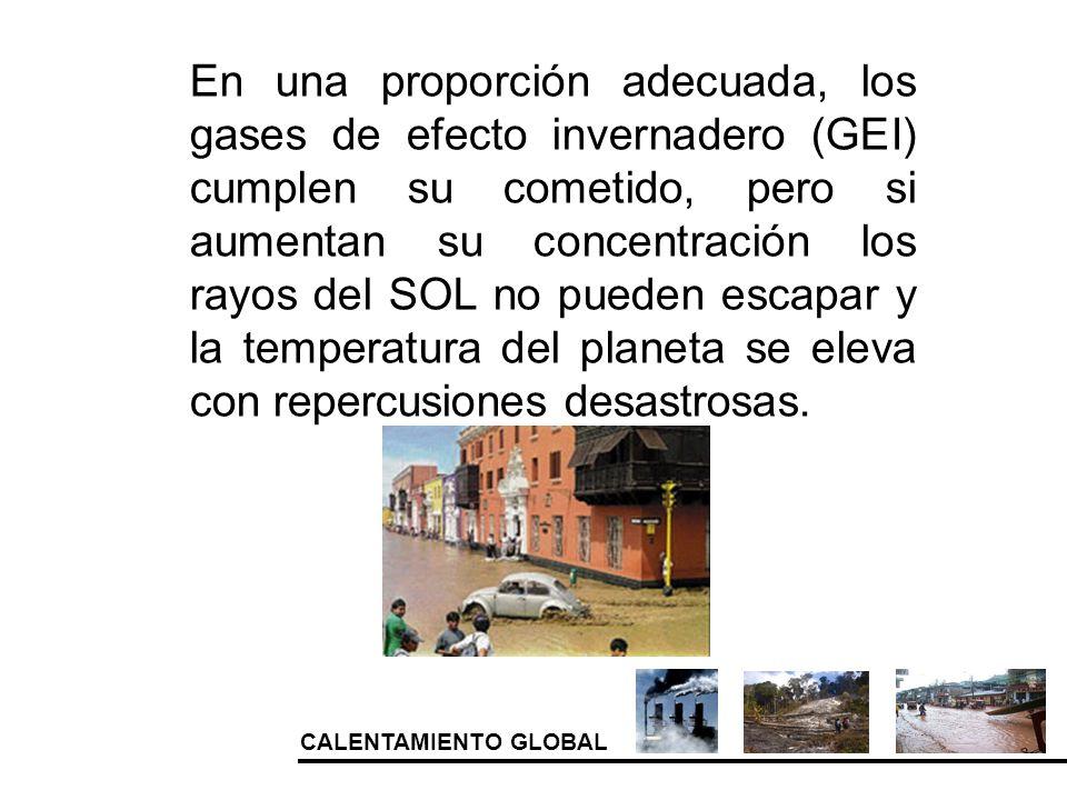 CALENTAMIENTO GLOBAL En una proporción adecuada, los gases de efecto invernadero (GEI) cumplen su cometido, pero si aumentan su concentración los rayo
