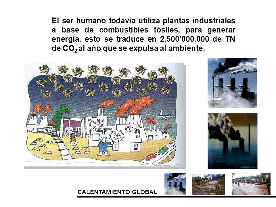 CALENTAMIENTO GLOBAL El ser humano todavía utiliza plantas industriales a base de combustibles fósiles, para generar energía, esto se traduce en 2,500