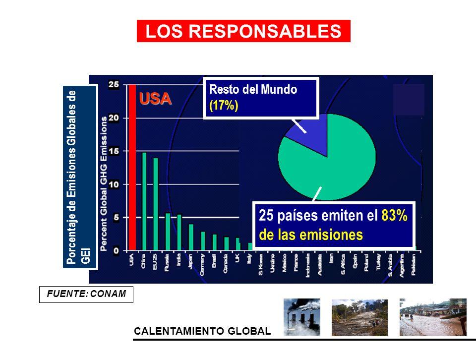 CALENTAMIENTO GLOBAL Porcentaje de Emisiones Globales de GEI Resto del Mundo (17%) 25 países emiten el 83% de las emisiones USA LOS RESPONSABLES FUENT