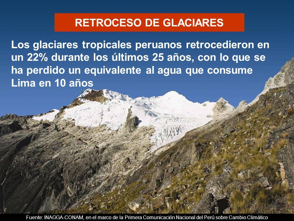 CALENTAMIENTO GLOBAL Los glaciares tropicales peruanos retrocedieron en un 22% durante los últimos 25 años, con lo que se ha perdido un equivalente al