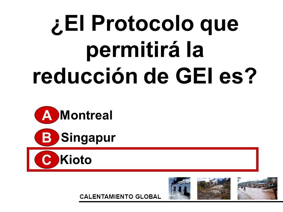 CALENTAMIENTO GLOBAL ¿El Protocolo que permitirá la reducción de GEI es? A Kioto Singapur Montreal B C