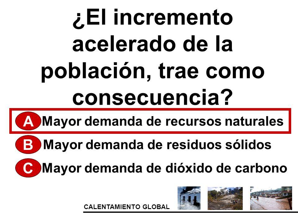 CALENTAMIENTO GLOBAL ¿El incremento acelerado de la población, trae como consecuencia? A Mayor demanda de dióxido de carbono Mayor demanda de residuos