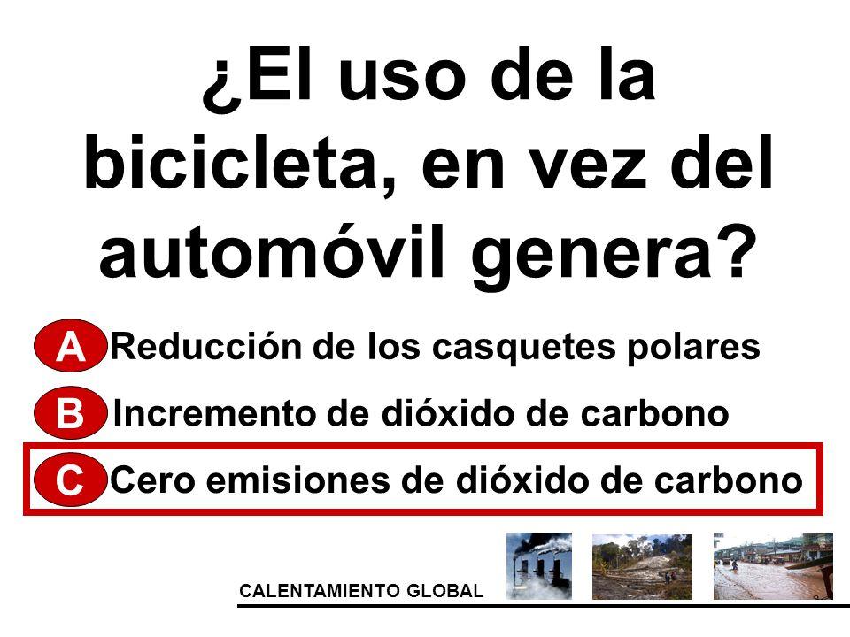 CALENTAMIENTO GLOBAL ¿El uso de la bicicleta, en vez del automóvil genera? A Cero emisiones de dióxido de carbono Incremento de dióxido de carbono Red
