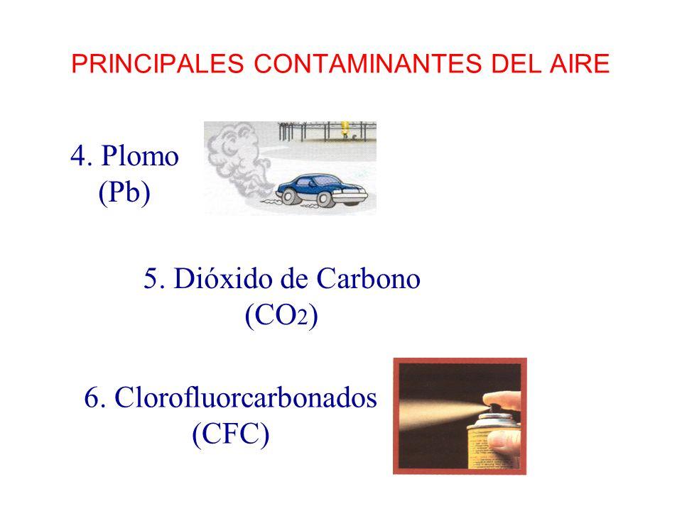 PRINCIPALES CONTAMINANTES DEL AIRE 5. Dióxido de Carbono (CO 2 ) 4. Plomo (Pb) 6. Clorofluorcarbonados (CFC)
