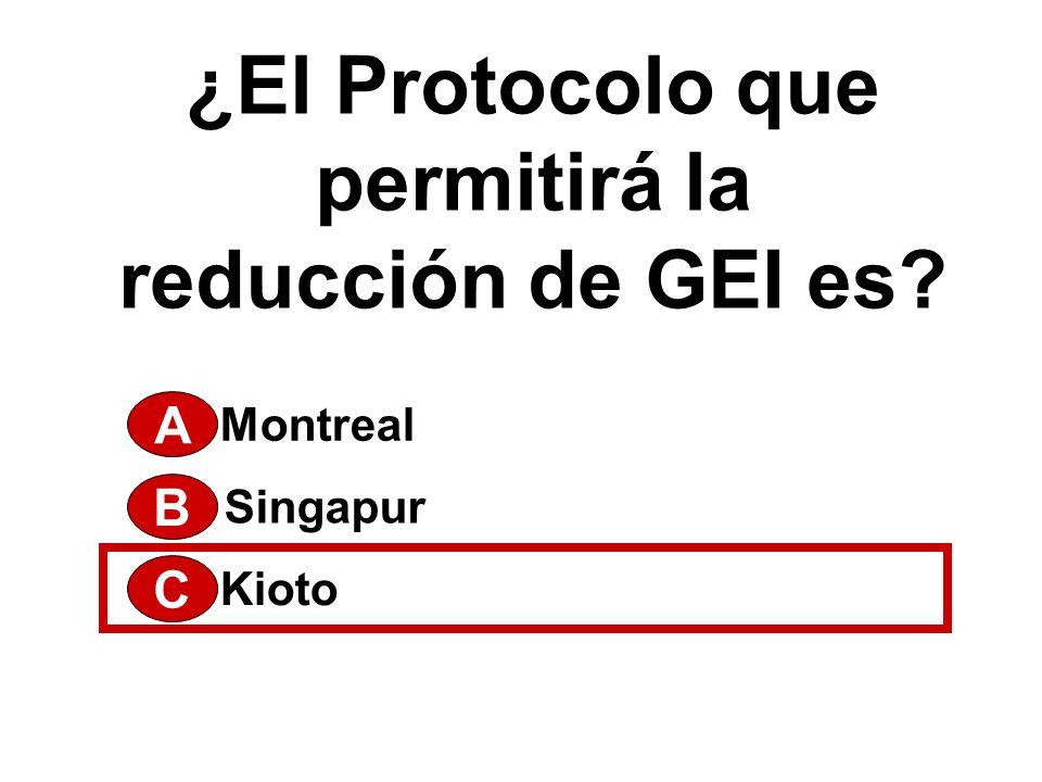 ¿El Protocolo que permitirá la reducción de GEI es? A Kioto Singapur Montreal B C
