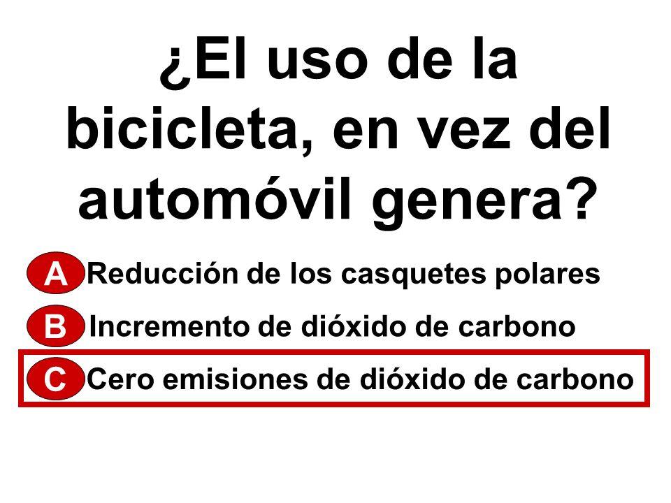 ¿El uso de la bicicleta, en vez del automóvil genera? A Cero emisiones de dióxido de carbono Incremento de dióxido de carbono Reducción de los casquet