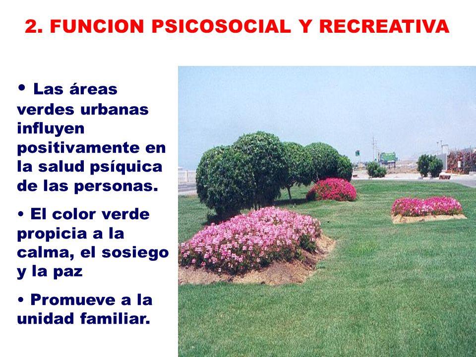 Las áreas verdes urbanas influyen positivamente en la salud psíquica de las personas. El color verde propicia a la calma, el sosiego y la paz Promueve