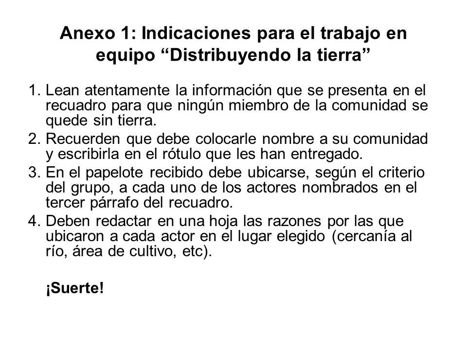 Anexo 1: Indicaciones para el trabajo en equipo Distribuyendo la tierra 1.Lean atentamente la información que se presenta en el recuadro para que ning