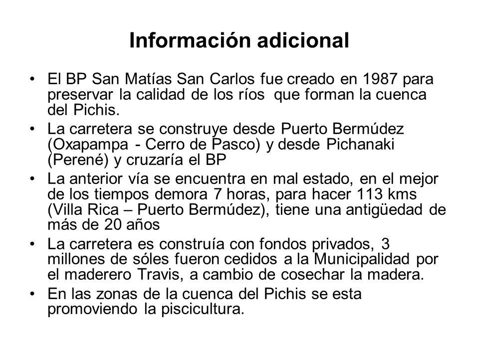 Información adicional El BP San Matías San Carlos fue creado en 1987 para preservar la calidad de los ríos que forman la cuenca del Pichis. La carrete