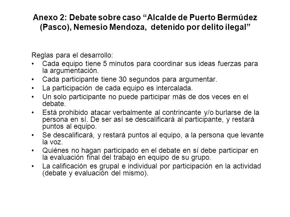 Anexo 2: Debate sobre caso Alcalde de Puerto Bermúdez (Pasco), Nemesio Mendoza, detenido por delito ilegal Reglas para el desarrollo: Cada equipo tien