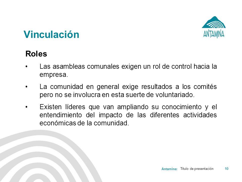 Antamina: Título de presentación10 Vinculación Roles Las asambleas comunales exigen un rol de control hacia la empresa. La comunidad en general exige