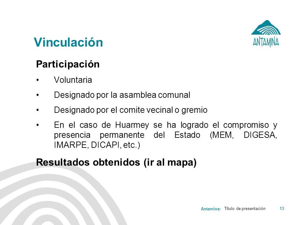 Antamina: Vinculación Participación Voluntaria Designado por la asamblea comunal Designado por el comite vecinal o gremio En el caso de Huarmey se ha
