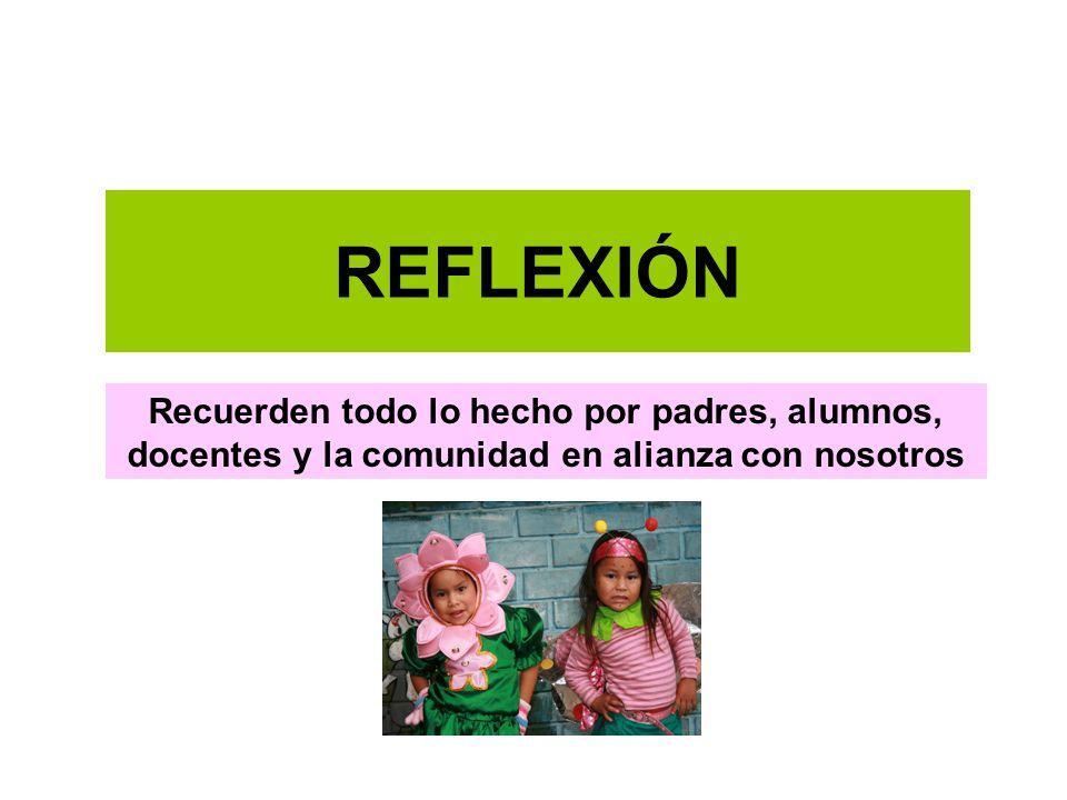 REFLEXIÓN Recuerden todo lo hecho por padres, alumnos, docentes y la comunidad en alianza con nosotros