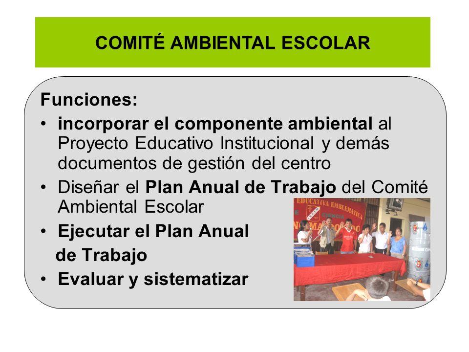 COMITÉ AMBIENTAL ESCOLAR Funciones: incorporar el componente ambiental al Proyecto Educativo Institucional y demás documentos de gestión del centro Di