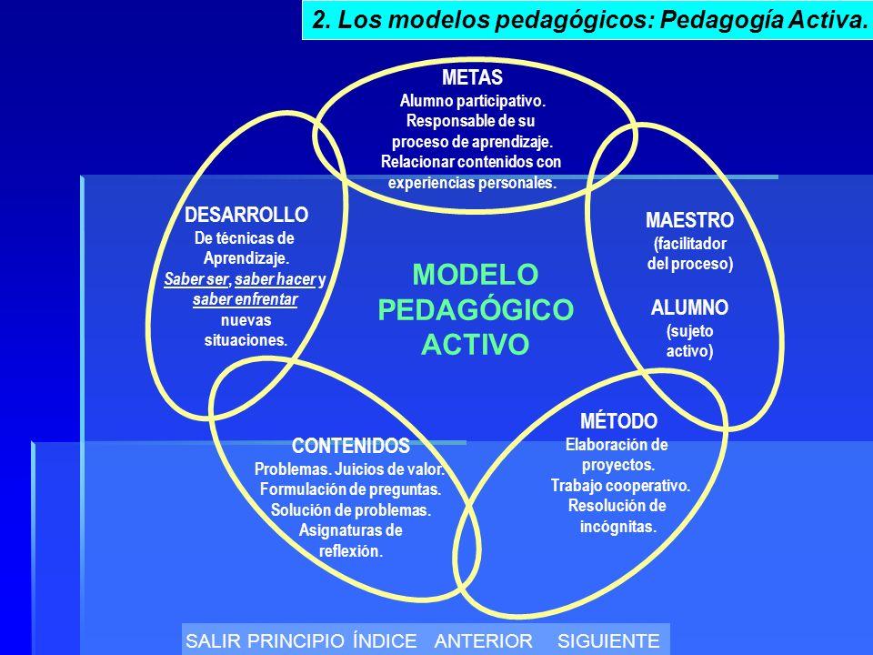 MODELO PEDAGÓGICO ACTIVO METAS Alumno participativo.