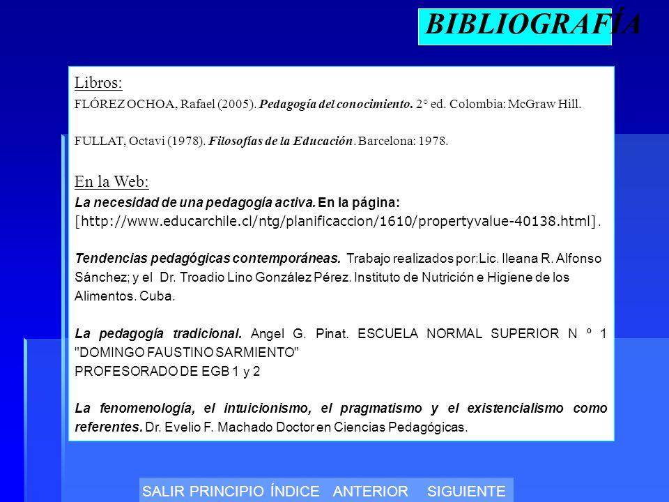 BIBLIOGRAFÍA Libros: FLÓREZ OCHOA, Rafael (2005).Pedagogía del conocimiento.