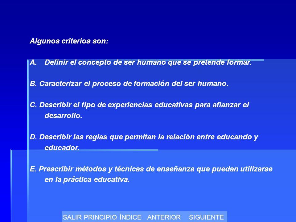 Algunos criterios son: A.Definir el concepto de ser humano que se pretende formar.
