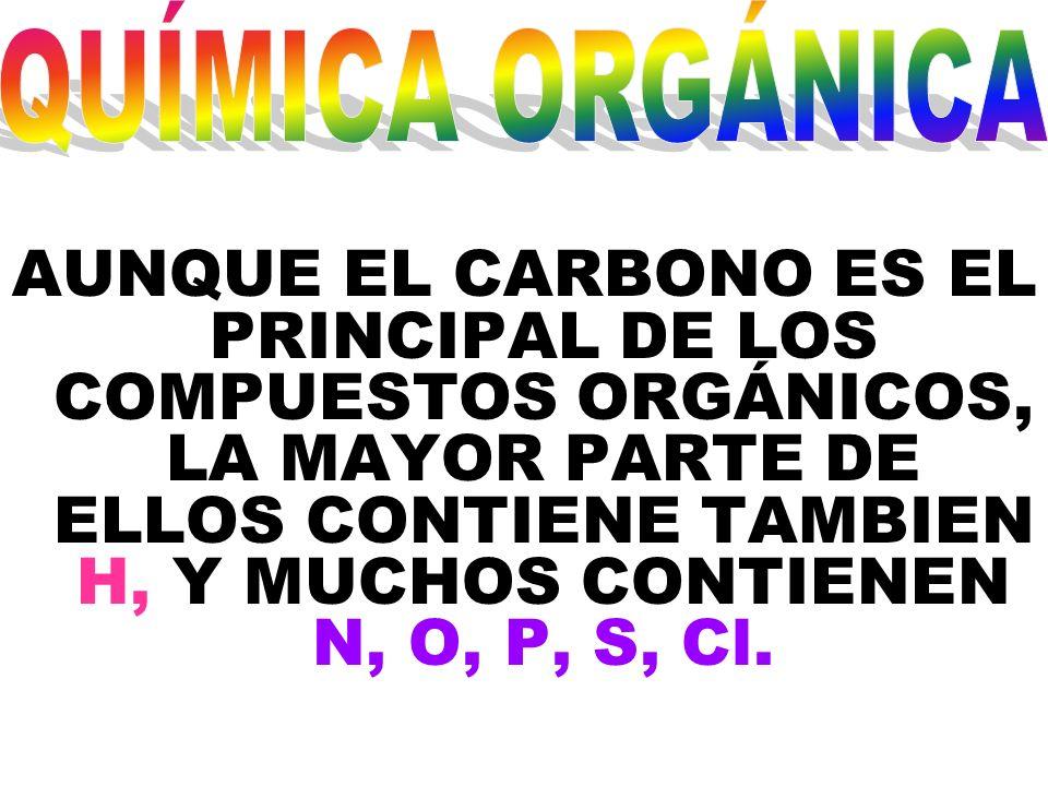 AUNQUE EL CARBONO ES EL PRINCIPAL DE LOS COMPUESTOS ORGÁNICOS, LA MAYOR PARTE DE ELLOS CONTIENE TAMBIEN H, Y MUCHOS CONTIENEN N, O, P, S, Cl.