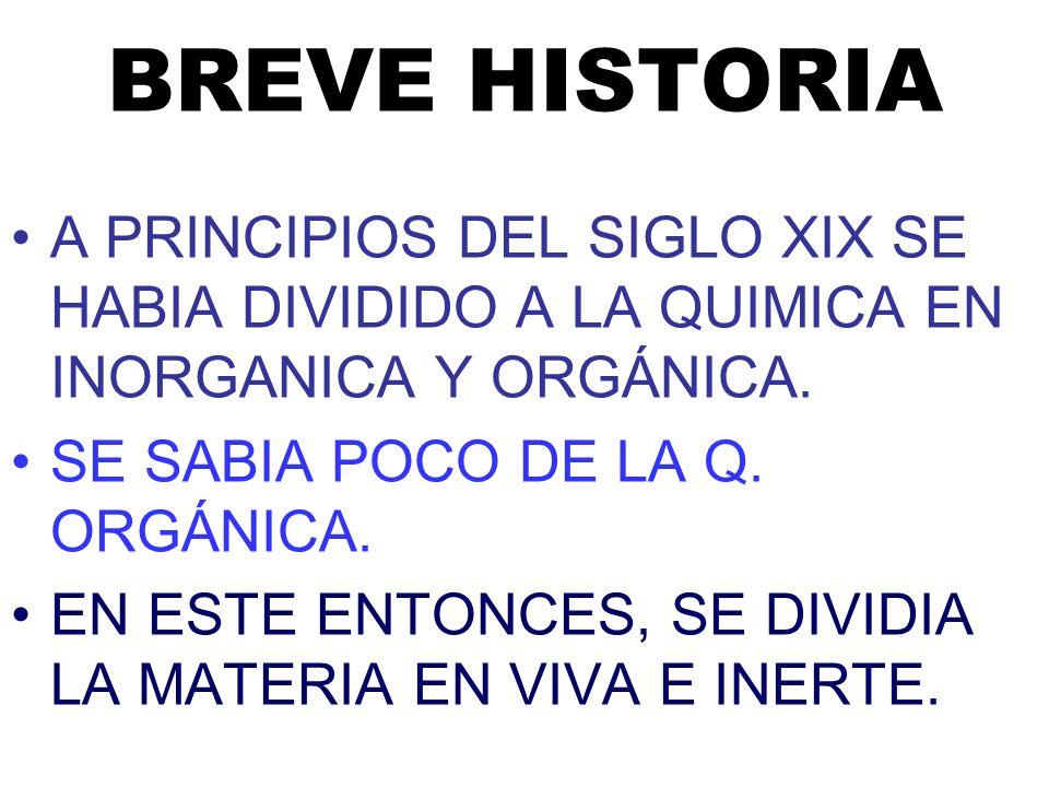 BREVE HISTORIA A PRINCIPIOS DEL SIGLO XIX SE HABIA DIVIDIDO A LA QUIMICA EN INORGANICA Y ORGÁNICA.