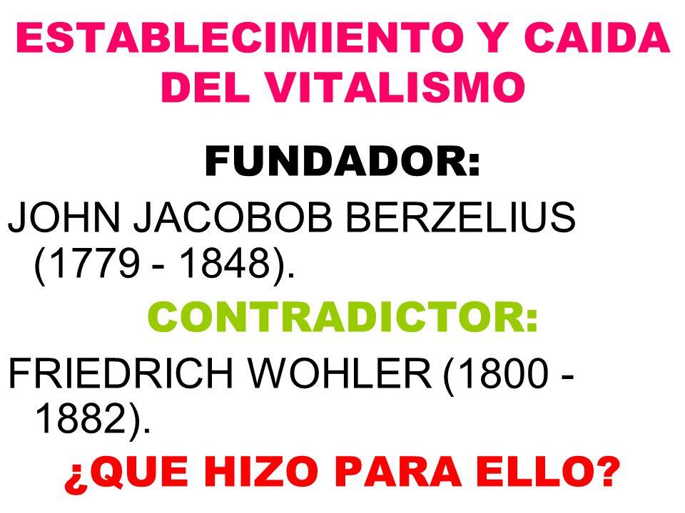 ESTABLECIMIENTO Y CAIDA DEL VITALISMO FUNDADOR: JOHN JACOBOB BERZELIUS (1779 - 1848).